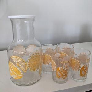 Vintage Lemonade Glass and Pitcher Set 5 Piece